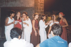 A concert as part of a 'Peace Day' that we organised to challenge conflict. (Specifically this is me and my roomies rapping 'where is the love?'. It was beautiful!).